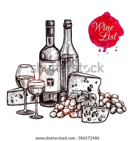 Wine Vintage Still Life. Hand Drawn Detailed Illustration - stock vector