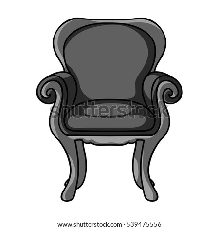 Wing-back chair icon in monochrome style isolated on white background. Furniture and home interior symbol stock vector illustration.