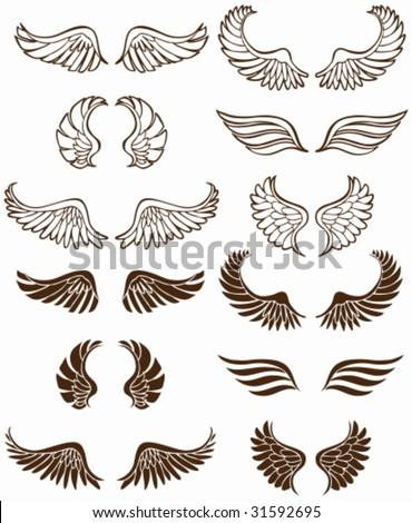 Wing Set: Line art flight symbols. - stock vector