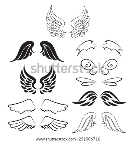 Wing set. Wings of different beings.  Vector illustration. Isolated on white background - stock vector