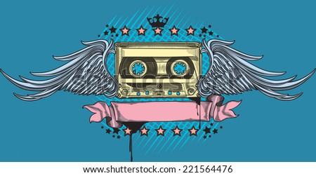 Winged audio cassette/Hand-drawing music design - stock vector