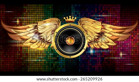 Winged audio speaker on bright colorful background - stock vector