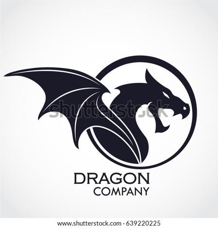 Winged Dragon Circle Logo Stock Vector 639220225