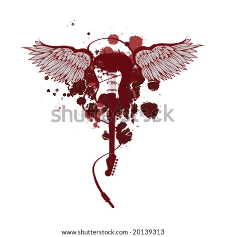 winged guitar vector - stock vector