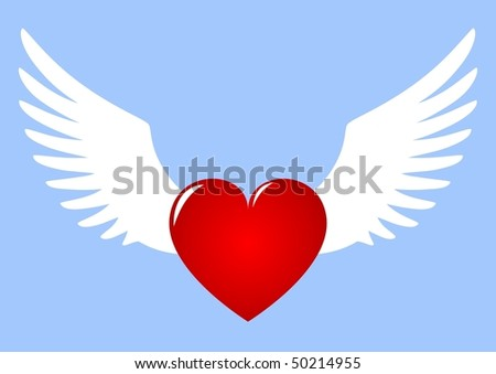 Winged Heart flying in the sky - stock vector