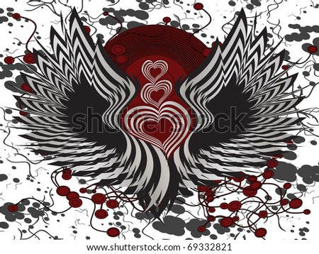 winged hearts background - eps file available - stock vector