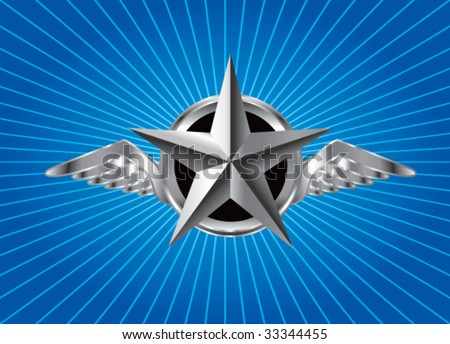 winged icon featuring silver star on blue starburst - stock vector