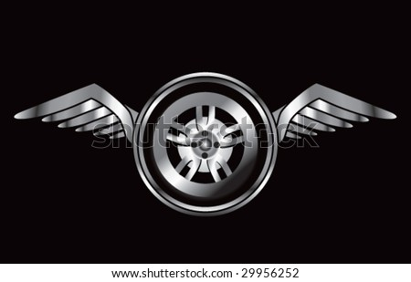winged icon with tire - stock vector
