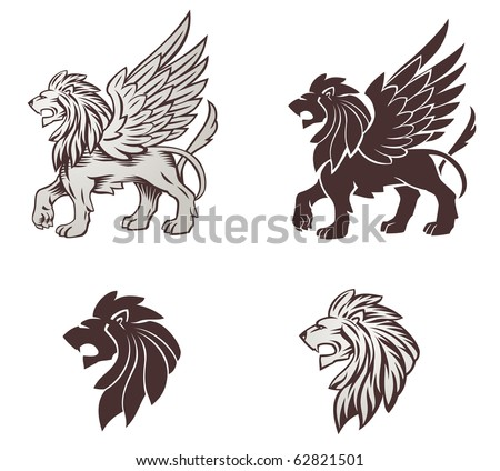 Winged Lion Illustration - stock vector