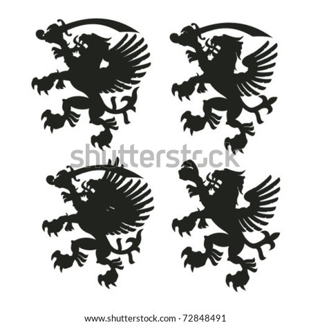 Winged lion silhouettes with sables and without - stock vector