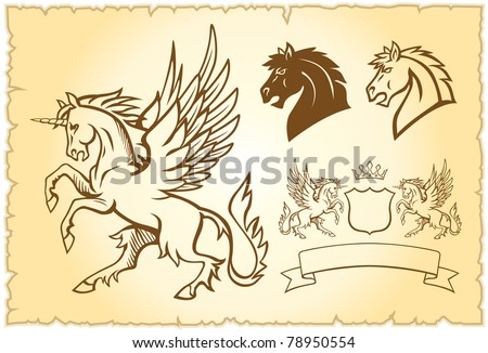 Winged mystery horse illustration - stock vector