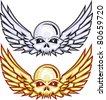 Winged Raider Skulls - stock vector