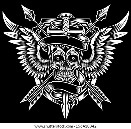 Winged Skull with Sword and Arrows - stock vector