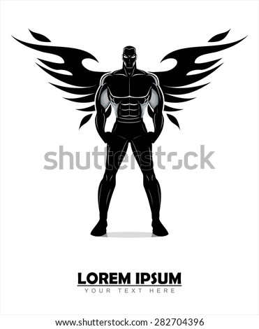 winged standing man. winged human silhouette. Design for Gym. Bodybuilder silhouette.Sportsman silhouette character. Sport Fitness club creative concept.Power strength man icon.Fighter. Fighting Club  - stock vector