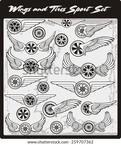 Wings and Tires Vector Clip art, Motor Sport, Vinyl-Ready, Decal Designs, Wall Decoration, Scrap booking Objects, Design Elements