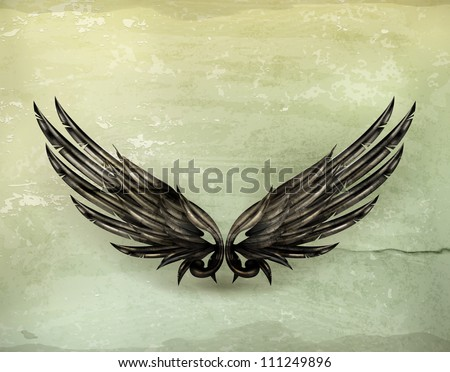 Wings black old-style vector - stock vector