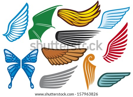 wings collection (wings set, wings icons) - stock vector