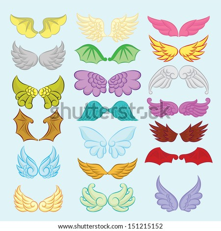 Wings Cute Collection Part II - stock vector