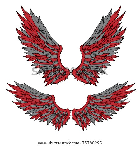 wings design set of two - stock vector