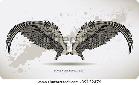Wings Griffon, hand drawing. Vector illustration. - stock vector