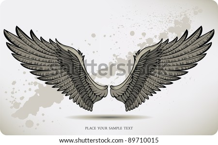Wings, hand drawing. Vector illustration. - stock vector