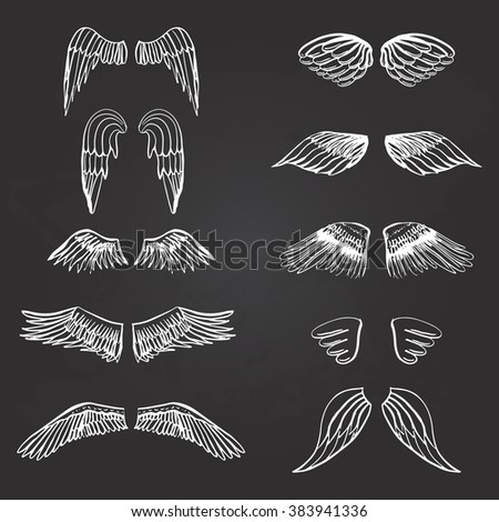 Wings illustration silhouettes set for making your own logo, badge, label design. - stock vector