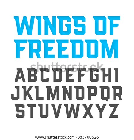 Wings Of Freedom modern style uppercase font. Vector illustration. - stock vector