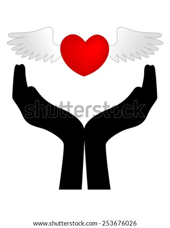 Wings on red love heart over the top of a silhouetted hands, isolated on a white background.