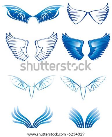 Wings set - stock vector