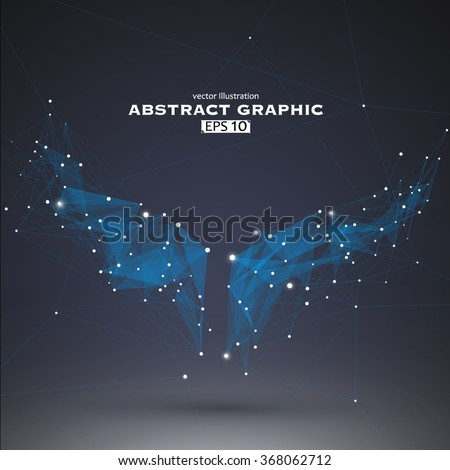 Wings shapes, dots and lines connected together, a sense of science and technology vector illustration. - stock vector
