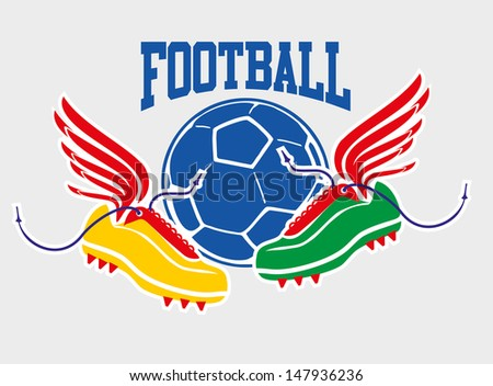 wings shoes  and ball vector  art - stock vector