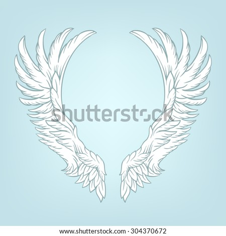 Wings tattoo vector cartoon illustration - stock vector