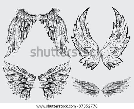 wings vector set - stock vector