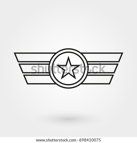 wings shield icon military army badge stock vector 2018 698410075 rh shutterstock com Dragon Wings Vector Angel Wings Vector