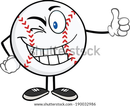 Winking Baseball Ball Cartoon Mascot Character Holding A Thumb Up. Vector Illustration Isolated on white - stock vector
