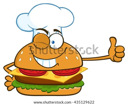 Winking Chef Burger Cartoon Mascot Character Showing Thumbs Up. Vector Illustration Isolated On White Background - stock vector