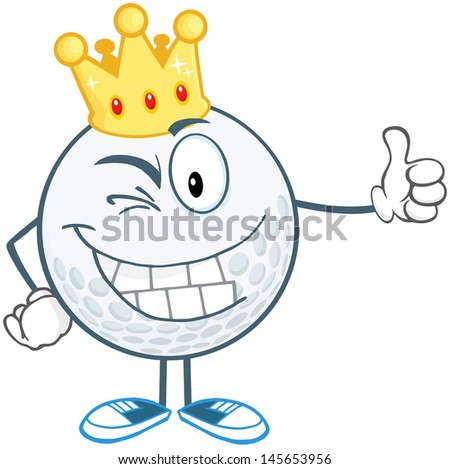 Winking Golf Ball Cartoon Character With Gold Crown Holding A Thumb Up. Vector Illustration
