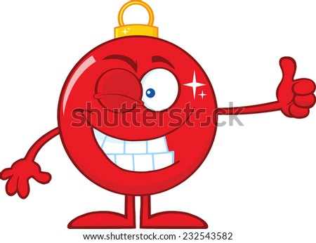 Winking Red Christmas Ball Cartoon Character Giving A Thumb Up. Vector Illustration Isolated On White Background - stock vector