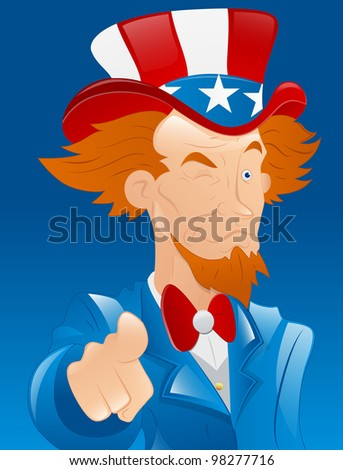 Winking Uncle Sam - stock vector