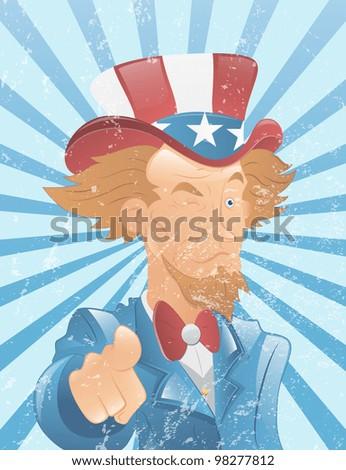 Winking Uncle Sam Vintage Art - stock vector
