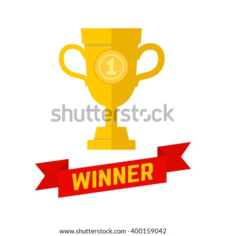 Winner, champion icon in flat style. Winner cup. Winner cup design isolated on white background. Trophy Icon art. Trophy Icon web. Trophy Icon new.  Design element in vector. - stock vector