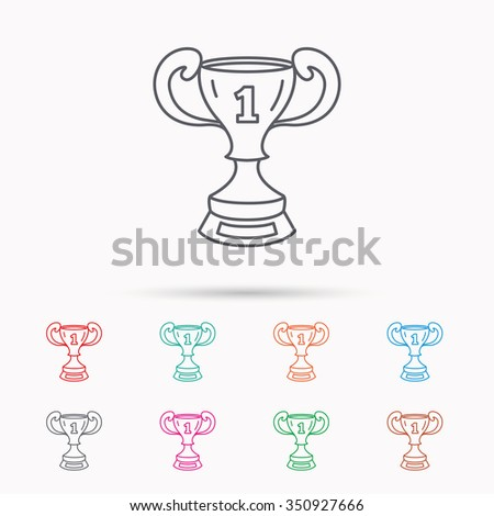 Winner cup icon. First place award sign. Victory achievement symbol. Linear icons on white background.