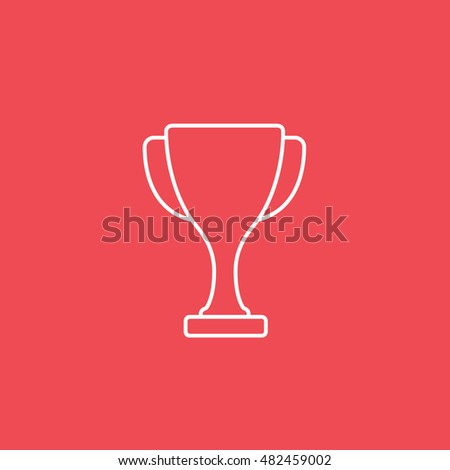 Winner Cup Line Icon On Red Background