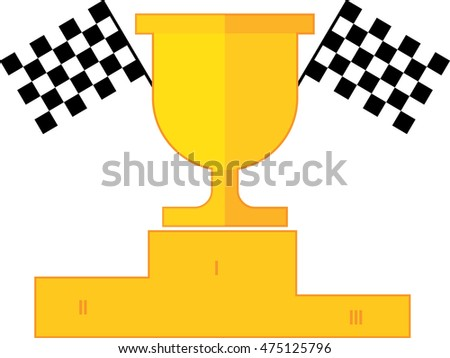 winner cup, podium, chequer flag