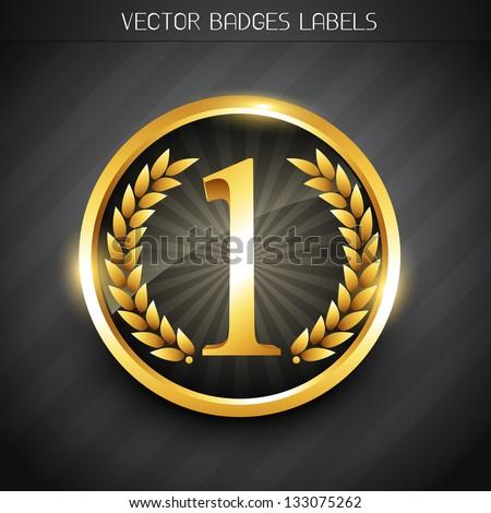 winner emblem golden no. 1 label design - stock vector