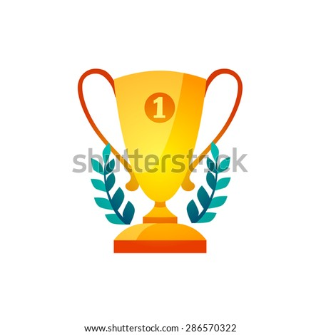 Winner goblet or cup. Victory, champion icon in flat champion trophy cup, victory, success concept of win, leadership  - stock vector