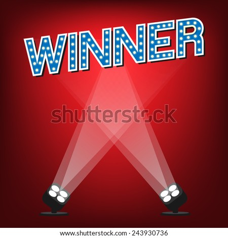 Winner label on stage with red background and lighting. - stock vector