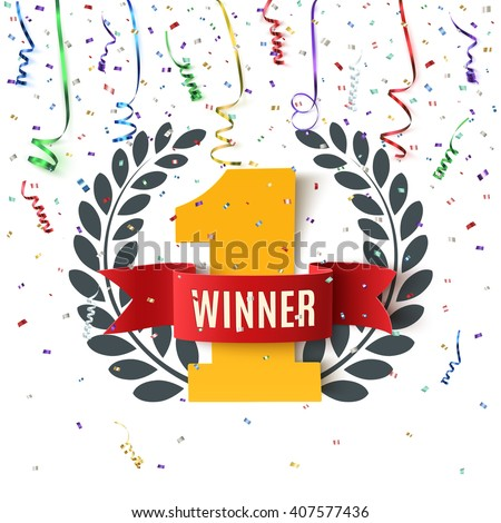 Winner, number one background with red ribbon, olive branch  and confetti on white. Vector illustration. - stock vector