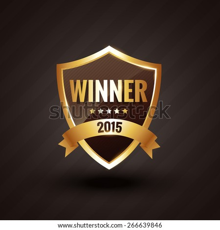 winner of 2015 golden label vector design badge illustration - stock vector