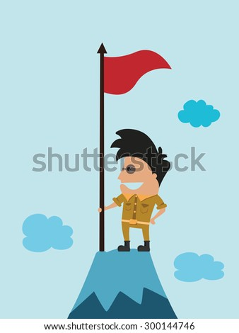 winner on top of the mountain holding a flag, vector illustration - stock vector